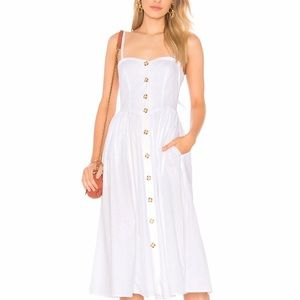 Free people white midi dress with pockets